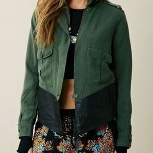 BB Dakota - Dakota Collective   Army Green Tencel Jacket Leather Trim   small